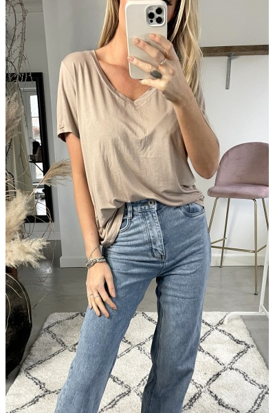 Taria Basic T-Shirt - Beige
