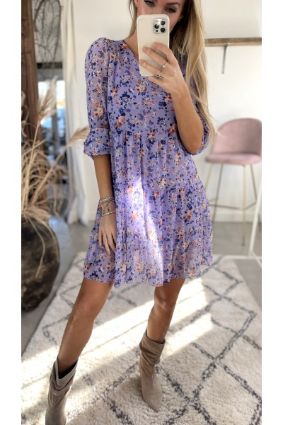 Sabine Flower Dress - Purple