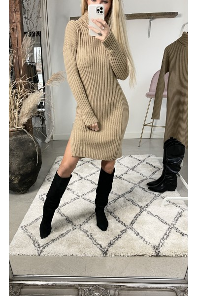 Mira Cool Knit Dress - Camel