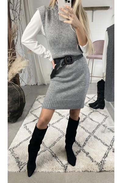 Nina Soft Long Vest - Grey
