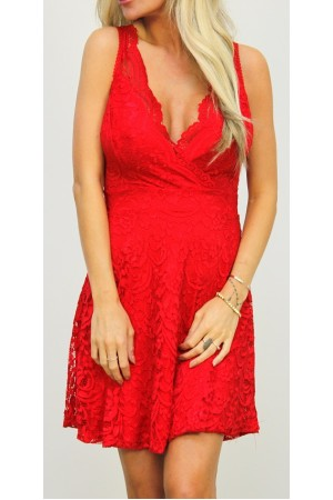 Malina Lace Dress - Red