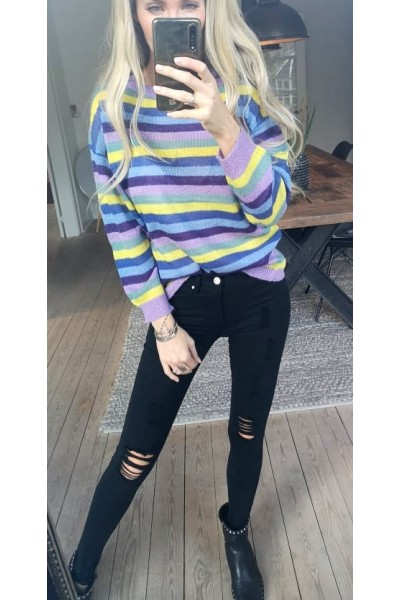 Vera Stripe Knit - Purple