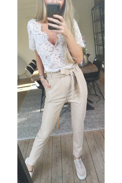 Miri Leather Pants - Beige
